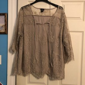 Taupe Floral Lace Blouse